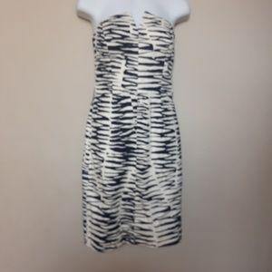 Trina Turk | Navy Zebra like Strapless Dress 2